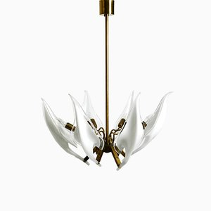 Large Brass Chandelier with White and Transparent Murano Glasses by Franco Luce, Italy, 1950s