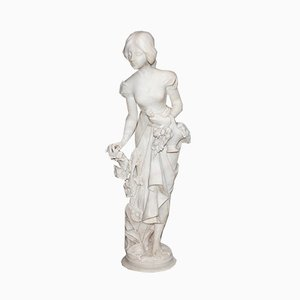 Large Young Girl with Basket of Flowers Alabaster Sculpture, 1900
