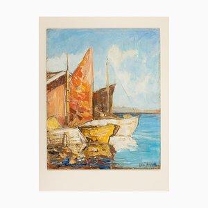 Barche da pesca a Venezia, olio su tavola, con cornice