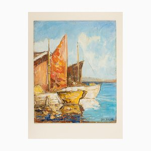 Bateaux de Pêche à Venise, Huile sur Panneau, Encadrée