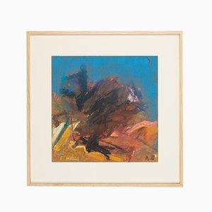 Abstrakte Komposition, Öl auf Holz, Gerahmt