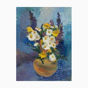 Bouquet primaverile, olio su tavola, con cornice