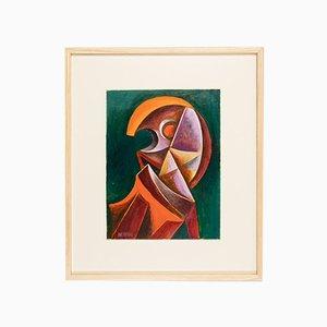 Kubistisches Portrait, Öl auf Holz, Gerahmt