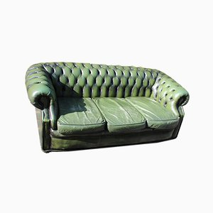 Green Leather 3 Seater Chesterfield Sofa, 1960s