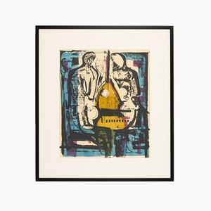 Double Bass, Color Lithograph, Framed