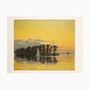 Sunset, Öl auf Holz, Gerahmt