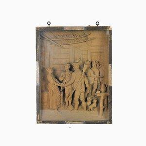 Geschnitztes Diorama aus Holz, Jäger auf Wiedersehen, Tirol, 20. Jh