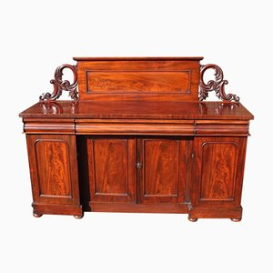 Large Mahogany 4 Door Sideboard with Back, 1900s