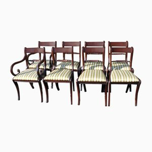 Mahogany Rope Back Dining Chairs with Pop Out Seats, 1960s, Set of 8