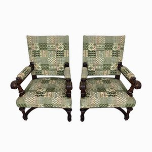 Spanish Carved Walnut Armchairs, 1900s, Set of 2