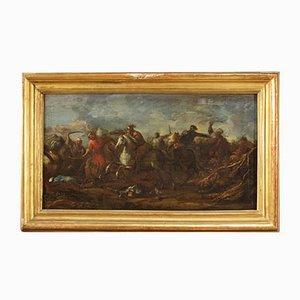 Antike deutsche Schlacht Gemälde, Öl auf Leinwand, 17. Jahrhundert, gerahmt