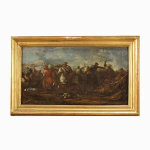 Antique German Battle Painting, Oil on Canvas, 17th Century, Framed