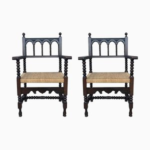 Louis Xvi Style Spanish Carved Walnut Armchairs, 1900s, Set of 2