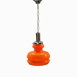 Lampada a sospensione vintage in vetro di Murano arancione, anni '70