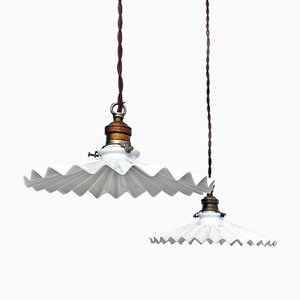 Italian White Pleated Glass and Brass Chandeliers, Early 1900s, Set of 2
