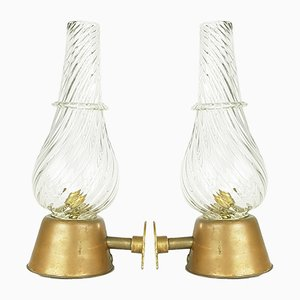 Murano Glass & Brass Mid-Century Sconces from Seguso, Set of 2