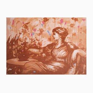 Omar Galliani, Ebunea, Screen Print on Canvas