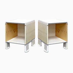 Italian Mid-Century Modern White Plastic Bedside Tables, 1970s, Set of 2