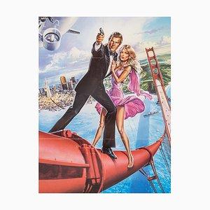 Poster del film A View to a Kill con Roger Moore, incorniciato