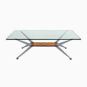 Tavolino da caffè Spider in metallo cromato e vetro, anni '60