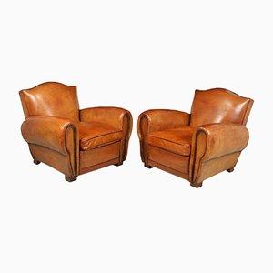 Club chair in pelle, Francia, anni '40, set di 2