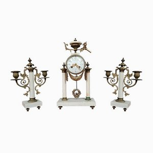 Louis XVI Style Portico Clock with 2-Arm Candelabras, Set of 3