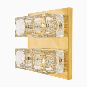 Glas Deckenlampe von Peill & Putzler, 1970er