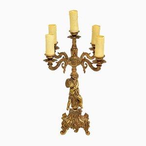Antike französische Cherub Lampe aus vergoldetem Metall