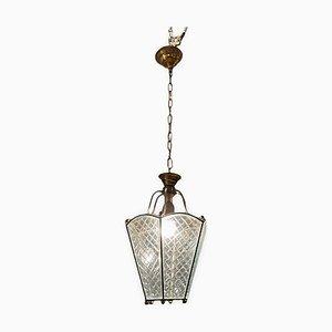 Lampe à Suspension Vintage en Verre Gravé, Italie, 1950s