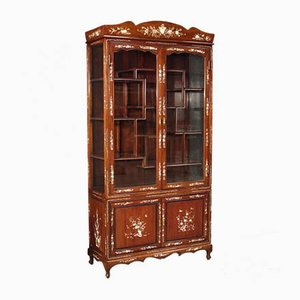 Asian Showcase in Mahogany Wood and Faux Mother-of-Pearl