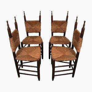 Chaises en Bois et Paille, 1960s, Set de 4