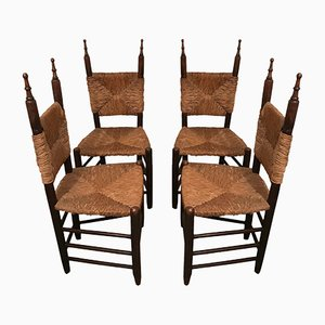 Wood and Straw Chairs, 1960s, Set of 4
