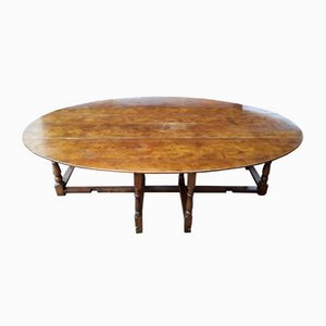 Large Vintage English Folding Dining Table with Gate Gender in Solid Oak, 1930s