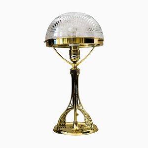 Jugendstil Tischlampe mit Original geschliffenem Glas, 1900er