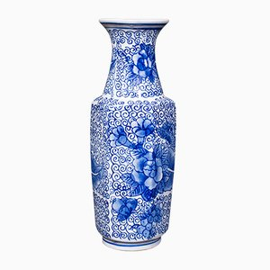 Vintage Japanese Art Deco Ceramic Vase in the Style of Delft, 1940s