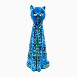 Ceramic Bitossi Sitting Cat by Aldo Londi for Rimini Blue Series, Italy