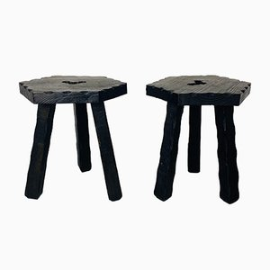Mid-Century Italian Rustic Three-Legged Wooden Stools with Carved Edges, 1960s, Set of 2
