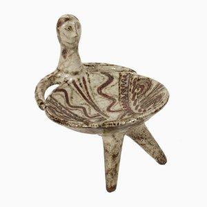 Anthropomorphe skulpturale dreibeinige Tasse von Jean Derval für Vallauris, Frankreich, 1950er