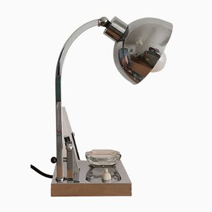 Bauhaus Style Polished Chrome Table Lamp with Picture Holder and Ashtray, 1940s