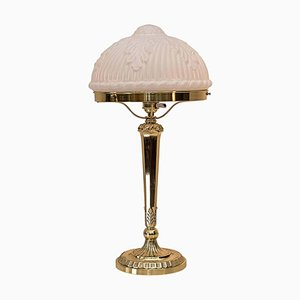 Lampada da tavolo neoclassica con paralume in vetro originale