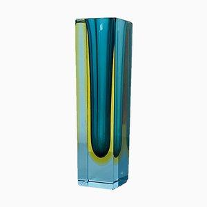 Italian Mid-Century Modern Green Murano Glass Sommerso Vase, 1970s