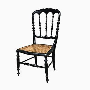 Napoleon III Kinderstuhl aus schwarzem Holz & Schilfrohr