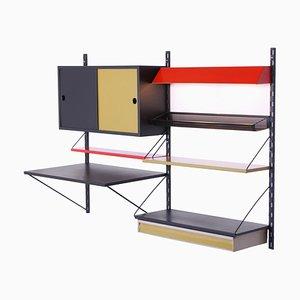 Sistema de pared modular de metal perforado coloreado de Tjerk Reijenga para Pilastro, años 50. Juego de 10