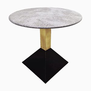 Brassa and Granite Tables in Marble and Brass, 1970s, Set of 4