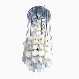 Italian Mid-Century Modern White Glass Cascade Chandelier, 1970s