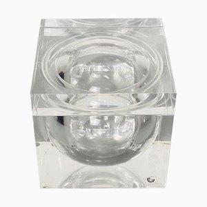 Italian Mid-Century Modern Plexiglass Square Box with Internal Ice Bucket Sphere from Guzzini, 1970s