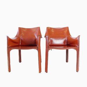 Cab 413 Leder Stühle von Mario Bellini für Cassina, 2er Set