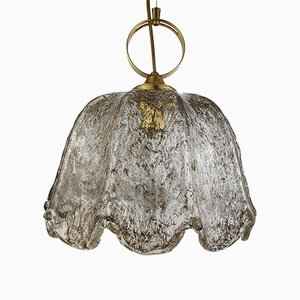 Brass and Crushed Glass Pendant Lamp from Doria Leuchten, 1970s