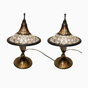 Lampade da tavolo vintage in cristallo e ottone, anni '60, set di 2