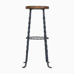 Sgabelli da bar Mid-Century brutalisti in ferro e legno, set di 3